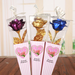 Wholesale roses forever online – design Valentine s Day Creative Romantic Gift K Foil Plated Rose Gold Rose Lasts Forever Love Wedding Decor Lover Rose Drop Shipping