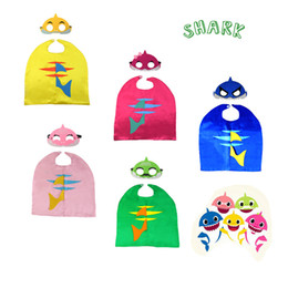 $enCountryForm.capitalKeyWord Australia - 5styles Baby Shark Robe Cloak Cape with Mask Kids Cosplay Costume Children Cartoon capes Set Birthday Party Halloween Supplies FFA2528