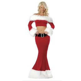Wholesale santa costume female for sale – halloween Plus Size New Year Christmas Costume for Women Red Sexy Dress Adult Female Fancy Cosplay Skirts Santa New Fashion Fancy Dress
