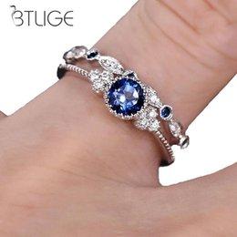 $enCountryForm.capitalKeyWord Australia - 2pcs set Fashion Engagement Zircon Crystal Rings Womens Girls Silver Filled Wedding Ring Set Lover Wedding Jewelry Party Gift
