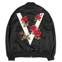 $enCountryForm.capitalKeyWord Australia - 2019 Autumn Women's Jacket High Quality Rose Embroidered Satin Jacket Street Style Zipper Loose Coat Print Bomber Women