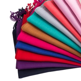 Solid Cotton Shawl Australia - Women tassel pashmina solid color thin shawls and wraps lady solid Head Scarf for women stylish tassel scarves