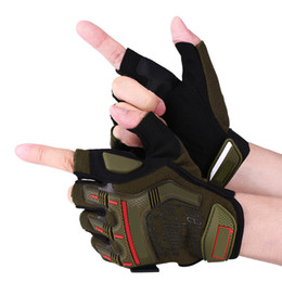 army gloves 2019 - Motorcycle Motocross Cycling Racing Riding Half Finger Protective Gloves Army Green M Wrist adjustable fastener tape fib