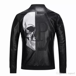 Männer Lokomotive Mantel Freizeit Leder # 08 Jacken Reißverschluss Lässige Wintermode Top Jacke tier Stickerei Oberbekleidung Herrenbekleidung PP on Sale