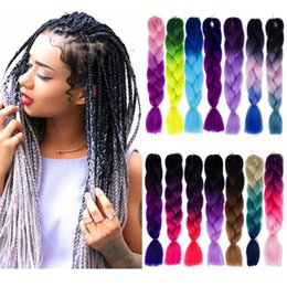 In Quality Silky Strands Ombre Kanekalon Jumbo Synthetic Braiding Hair Crochet Blonde Hair Extensions Jumbo Braids Hairstyles Superior