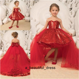 detachable trains for wedding dresses 2021 - Flower Girl Dress Detachable Train Sheer Sequined Ball Gown Girls Pageant Dresses Back Bow High Low Kids Communion Dress For Birthday FG1327
