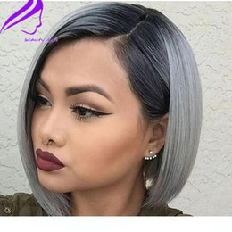 Wholesale sexy women machine resale online - Sexy Cosplay short Bob wigs Glueless ombre Grey Synthetic Lace Front wigss With Baby hair Density Heat Resistant Fiber wigss For Women