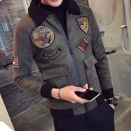 Deerskin coat online shopping - Black Bomber Jackets Mens Pilot Jackets And Coat Mens Fur Collar Erkek Khaki Winter Slim Fit Deerskin Parka Velvet