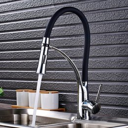 $enCountryForm.capitalKeyWord Australia - Chrome and Black hose Kitchen Sink Faucet Pull Down Swivel Spout Kitchen Sink Tap Deck Mounted Bathroom Hot and Cold Water Mixers