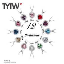 $enCountryForm.capitalKeyWord Australia - Tytw Crystals From Austrian 100% S925 Sterling Silver Women Pendant Heart Necklace Jewelry Gifts 12 Birthstone Necklace J190530