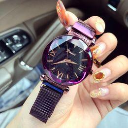 Jewelry Nude Woman NZ - Women Luxury Brand Lady Crystal Wrist Starry sky Fashion Woman Quartz Ladies Magnet Strap Free Buckle Watches C19010301