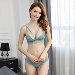 $enCountryForm.capitalKeyWord Australia - Lcw New design vintage breathable soft fashion deep V sling lady temptation lace sexy underwear bra set wholesale