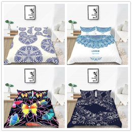 black flower comforter Australia - White Beautiful Flowers Bedding Set Twin Full Queen Size with Mandala Comforter Cover Set Lovely Fashion of Bedding Cover Suit