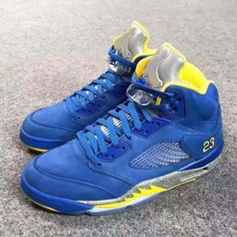 98cb7f16704f size7~13 2019 New Arrival 5 JSP Laney Varsity Royal Blue Light Charcoal- Varsity Maize Men Basketabll Shoes designer Sneakers with box
