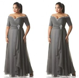 $enCountryForm.capitalKeyWord Australia - Grey Mother of the Bride Dresses Plus Size Off the Shoulder Cheap Chiffon Prom Party Gowns Long Mother Groom Dresses Wear