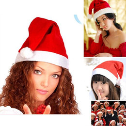 christmas santa hats wholesale Canada - Factory price! 1500pcs Red Santa Claus Hat Ultra Soft Plush Christmas Cosplay Hats Christmas Decoration Adults Christmas Party Hats