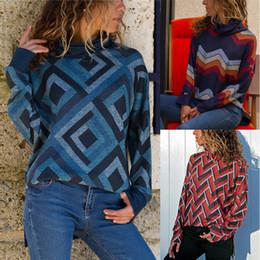 Wholesale turtleneck t shirt female online – design Women s sweater Female Long Sleeve Top Sanding Geometric Patterns High Collar T shirt Slim Fit Casual Sweater