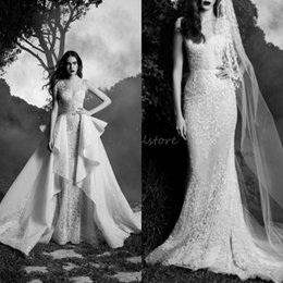 garden wedding dresses wrap NZ - country mermaid zuhair murad wedding dresses Detachable Skirt Sexy illusion neck Appliques Elegant Fall Garden Bohemian Boho Wedding Gown