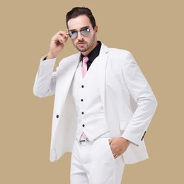 Ivory Linen Suit Canada - White Wedding Groom Tuxedos Peaked Lapel Three Piece Custom Made Evening Party Men Suits 2019 Jacket Pants Vest (Jacket + Pants + Vest)