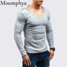 hooded long sleeve t shirt men Australia - Moomphya Low collar hooded men t shirt Long sleeve t-shirt men Hip hop streetwear tshirt Slim Fit tee shirt homme funny t shirts T200617