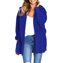 $enCountryForm.capitalKeyWord NZ - Winter Women Loose Hooded Cardigan Coat Fluffy Faux Fur Batwing Long Sleeves Open Front Long Coat Casual Furry Overcoat Outwear
