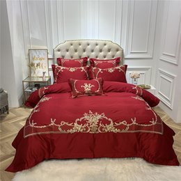 royal beds 2019 - Red 4 6pcs blue dark blue Luxury Egyptian cotton Royal Bedding sets Queen King size Duvet cover Bed sheet set Pillowcase