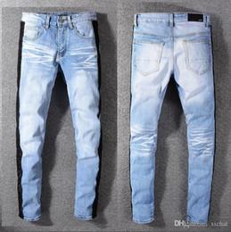 $enCountryForm.capitalKeyWord Australia - Newest Mens Side Panelled Skinny Light Blue Jeans Designer Blenched Scratched Slim Fit Motorcycle Biker Hole Beggar Hip Hop Denim Pants 591
