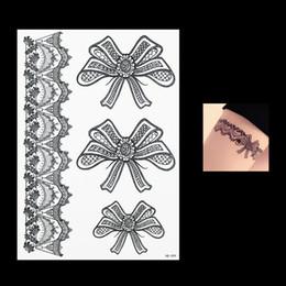 $enCountryForm.capitalKeyWord NZ - Hot 2018 1 PC Beautiful Black Flower Lace Temporary Tattoo Bow Tie Bowknot Arm Leg Body Art HB099 Women Man Tattoo Sticker Paper