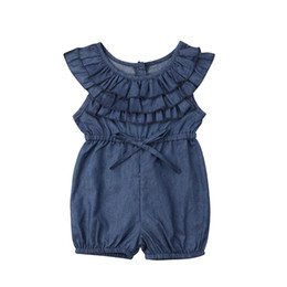 princess toddler romper 2019 - Focusnorm New Fashion Hot Toddler Kids Baby Girl Princess Ruffle Denim Romper Jumpsuit Outfits Clothes USA cheap princes