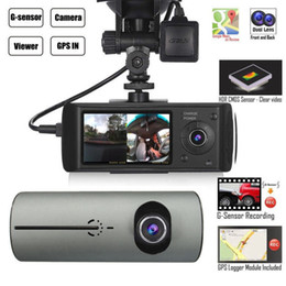 "Tft Lcd Cmos Australia - Dual Camera Car DVR R300 with External GPS and 3D G-Sensor 2.7"" TFT LCD X3000 FHD 1080P Cam Video Camcorder Cycle Recording"