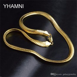 Torques Gold 18k Australia - YHAMNI Gold Color Necklace Men Jewelry Wholesale New Trendy 9 MM Wide Figaro Necklace Chain Gold Jewelry NX192
