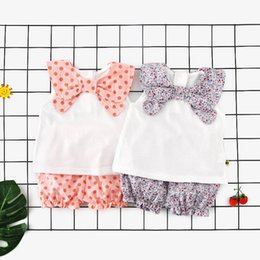 Baby Girl Tutu Bloomers Australia - Baby Girls Clothes Suits Polka Dot Floral Bow Tie Tees Tops Shorts Bloomers 2pcs Set Sleeveless Round Collar Summer Kids Clothing for 9M-3T