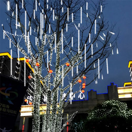 Flash light tube online shopping - Waterproof cm cm CM Tube Meteor Shower Rain LED String Lights Outdoor Christmas Garland For Wedding Garden Decoration CRESTECH