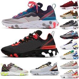 Vente en gros Nike 2020 React Element 55 UNDERCOVER 87 course de l'équipe Orbit rouge Bred vert tournée Epic Runner Sport Sneakers Runner Entraîneur