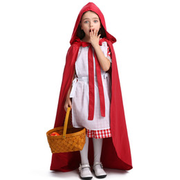 teenage costumes Canada - Free shipping Children Girl Little Red Riding Hood Cosplay Dress Halloween Princess Little maid Costume Party stage performance Clothing