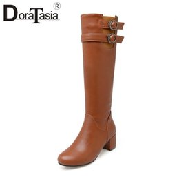 Brown Stretch Knee High Boots Australia - DoraTasia New Fashion Metal Decoration 5cm Med Square Heels Solid Warm Zip Knee-high Boots For Women Nice Plus Size 22-52