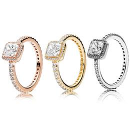 Venta al por mayor de Real 925 plata esterlina CZ Diamond RING con LOGO Caja original Ajuste estilo Pandora 18 K Oro Anillo de bodas Joyería de compromiso para mujeres