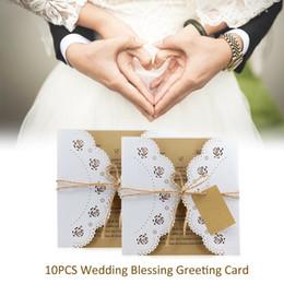 White Rose Card Wedding Australia - 10PCS Wedding Greeting Card Kraft Rope Ice White Rose Lace Invitation Laser Invitation HK-262