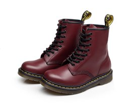 Fall Style Boots NZ - High Quality Fashion Womens Spring Fall PU Leather Ankle Booties Black Red British Style Retro Waterproof Martins Boot Doc Women Motorcycle