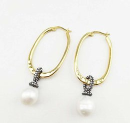 irregular earrings 2019 - Fashion Women Earrings Yellow Gold Plated CZ Natural Irregular Pearl Earrings Hoops for Girls Women for Party Wedding Ni
