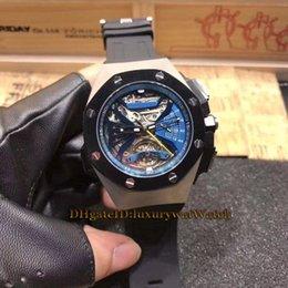mens swiss mechanical watch 2019 - Luxry Super Timekeeping 26577TI.OO.D002CA.01 Skeleton Dial Silver Case Swiss Quartz Movement Tourbillon Mens Watch Black