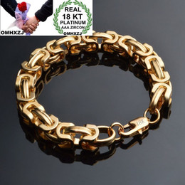 wedding thick gold chain Australia - OMHXZJ Wholesale Personality Fashion Man Party Wedding Gift Gold 9mm Thick Chain 18KT Gold Bracelet+Necklace Jewelry Set SE45