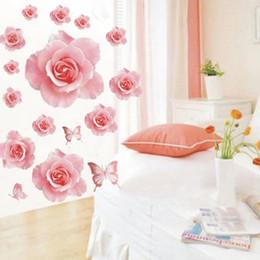 $enCountryForm.capitalKeyWord Australia - Fashion Wall Sticker 3D Pink Rose Flower Removable Home Decoration Decal Vinyl Floral Beautiful adesivo de parede Hot Sale New