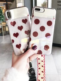 Chains For Mirrors Australia - New design mirror phone case with chain wine red pattern case cover for iphone 6 7 8 plus X Xs Xr Xs max