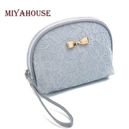 Cosmetic Bags Locks Australia - Miyahouse Fashion Lace Design Cosmetic Bag Female Daily Use Small Makeup Bags For Lady Bow-Knot Women Zipper Cosmetics Bag