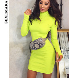 f18576a30a49 Boofeenaa Neon Yellow Knitted Sweater Dress Winter High Neck Long Sleeve Bodycon  Dress Sexy Robes Night Club Wear C70-aa89 Y19052901
