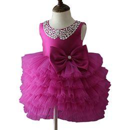 $enCountryForm.capitalKeyWord UK - Bowknot Dress Baby Girls Princess Dress Flower Lace Tutu Children Bridemaid Dress For Wedding Girls Party Prom Dresses Y19061701