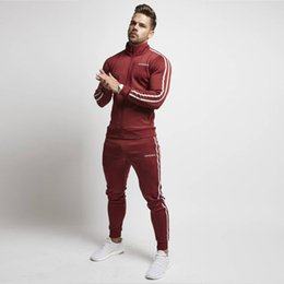 muscle men suits Australia - 2019 New Arrival Muscle Sporting Suit Men Spring Autumn Casual Zipper Sweatshirt+Sweatpants 2 Pieces Sets Striped Tracksuit Men