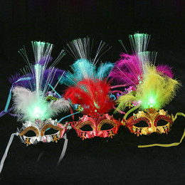 $enCountryForm.capitalKeyWord NZ - Masquerade Mask Colorful Fiber Mask Venetian LED Party Feather Masks for Fancy Dress Costume Party One Size Fit Most