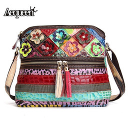 Large Flower Appliques NZ - Aequeen Women Genuine Leather Handbag Female Patchwork Flower Messenger Crossbody Bags For Ladies Shell Bag Bolsa Random Color Y19052801